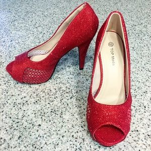 Top Moda Red Open Toes High Heel Stilettos